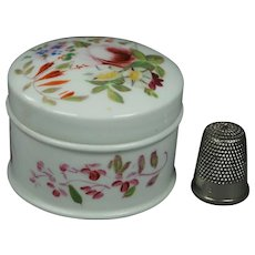 19th Century Spring Pastel Flowers Hand Painted English Porcelain Rouge Patch Cosmetic Pot Circa 1830