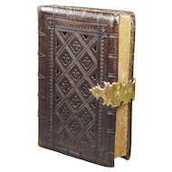Antique Victorian Small Tooled Leather Book Gothic Gilt Clasp Handsome