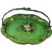 Antique French Green Papier Mache Tray Dish Basket Bronze Handle Circa 1830 Grand Tour