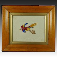 Antique Georgian Watercolor Painting Bird Embossed Dobbs Paper Birds Eye Maple Frame Circa 1820