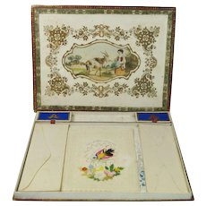 Antique 19th Century French Writing Box Set Hand Painted Card Contents Circa 1853