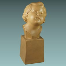 Vintage French Art Deco Sculpture Terracotta Bust Of A Child Signed D Daniel 1930s