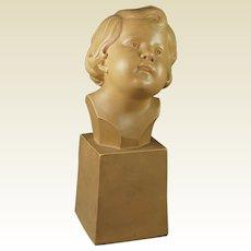 Vintage French Art Deco Sculpture Terracotta Bust Of A Child Signed D Daniel 1930s