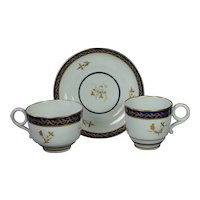 Antique Worcester Porcelain Barr Period Trio Two Cups And  Saucer Circa 1800 Georgian