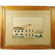 Antique English Folk Art Watercolor House Dog Georgian Circa 1820