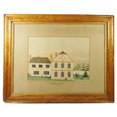 Antique English Rural Landscape Watercolor Folk Art House Dog Georgian Circa 1820