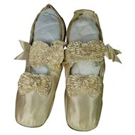 Antique Shoes Cream Silk Satin French Made by Julien Mayer Paris Circa 1865