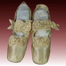 Antique Shoes Cream Silk Satin French Made by Julien Mayer Paris Circa 1865