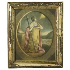 Antique Georgian Engraving Pastel Pink Allegorical Print Faith Georgian Circa 1795