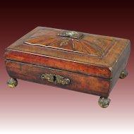 Regency Jewelry Box Red Leather Sewing Box English Circa 1810