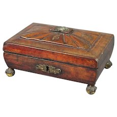 Regency Jewelry Box Red Leather Sewing Box English Circa 1810