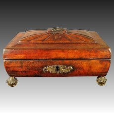 Antique Regency Red Leather Sewing Box English Circa 1810 Jane Austen Era