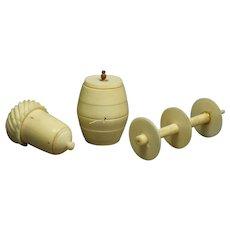 19th Century Georgian Bone Sewing Accessory Set Acorn Thimble Holder Cotton Barrel Double Spool Holder 1820 Regency