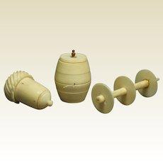Antique Bone Sewing Accessory Set Acorn Thimble Holder Cotton Barrel Double Spool Holder 1820 Regency