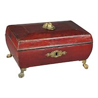 Antique Regency Red Leather Sewing Box Rare Dog Handle English Circa 1820