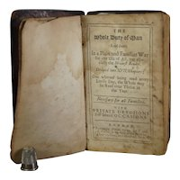 Rare Early 18th Century Book, 1709 HMS Mary Galley Inscription, Richard Allestree Whole Duty Of Man