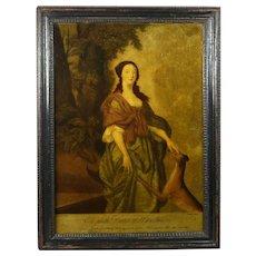 ON HOLD JW Mid 18th Century Reverse Mezzotint Print On Glass Elizabeth Duchess of Hamilton and Dog Circa 1755