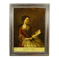 Antique 18th Century Reverse Print on Glass Georgian Lady, Miss Lewis Miss Lavergne After Liotard Circa 1754 Georgian
