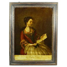 Antique 1700's Reverse Print on Glass Georgian Lady, Miss Lewis Miss Lavergne After Liotard Circa 1754