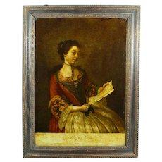 18th Century Reverse Print on Glass Georgian Lady, Miss Lewis Miss Lavergne After Liotard Circa 1754