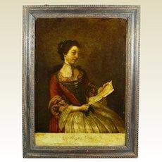 Antique 1700's Reverse Print on Glass Georgian Lady, Miss Lewis Miss Lavergne After Liotard Circa 1754