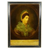 Antique 18th Century Reverse Glass Print Georgian Portrait Lady Miss Louisa Williams Circa 1771