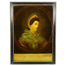 18th Century Reverse Glass Print Georgian Portrait Lady Miss Louisa Williams Circa 1771