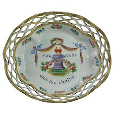 Antique 18th Century Pretty Pastel Shades Enamel Gaming Tray Counter Dish Romantic French Friendship Quotation Circa 1790 AF