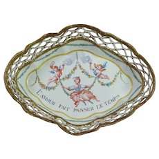 Antique Georgian Pretty Pastel Shades Enamel Gaming Tray Cupid French Love Quotation Circa 1790