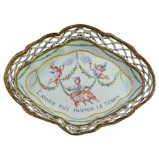 19th Century Enamel Gaming Tray Cupid French Rococo Girl In A Swing