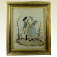 Antique Needlework on Paper Painting Lemon Gilt Frame Georgian Circa 1800