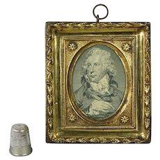 18th Century Georgian Miniature Engraving Pressed Brass Framed Irish Playwright Richard Brinsley Sheridan Circa 1792