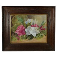 Antique 19th Century Spring Pastels Victorian Floral Watercolor Gouache Painting English Circa 1890