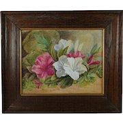 Antique 19th Century Victorian Floral Watercolor Gouache Painting English Circa 1890