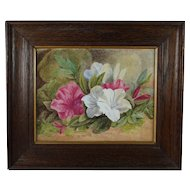 19th Century Floral Painting Watercolor Magnolia Azalea English Circa 1890