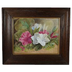 Antique Victorian Floral Painting Watercolor Magnolia Azalia English Circa 1890