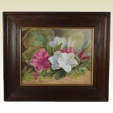 Antique Victorian Floral Painting Watercolor Magnolia Azalia English Circa 1890