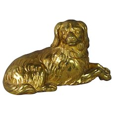 19th Century Dog French Gilt Bronze Dore King Charles Cavalier Spaniel Circa 1870