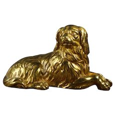 Antique 19th Century French Dog Statue, Gilt Bronze Dore, King Charles Cavalier Spaniel Circa 1870