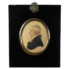 Antique Miniature Watercolor Portrait A R Burt Signed Dated 1813 Regency