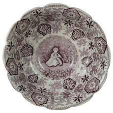 Antique 19th Century Staffordshire Dog Footed Bowl Dish Circa 1830 English Mulberry Plum Transferware