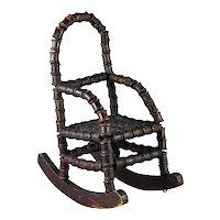 Antique 19th Century Primitive Toy Rocker Chair Folk Art Bobbin Spool Circa 1875 Doll Furniture