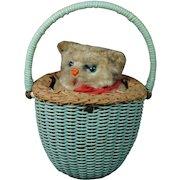 Vintage Max Carl Cat In Basket Wind Up Toy German Clockwork Kitten Circa 1950