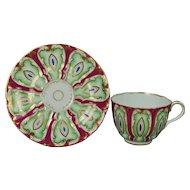 Antique Samuel Alcock Tea Cup And Saucer English Porcelain Circa 1845