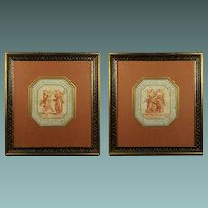 Antique 18th Century Pair Sanguine Stipple Engraving Classical Greek Muse Circa 1780 after Bartolozzi