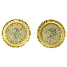 Antique Pair Miniature Silkwork Pictures Circular Floral Silk  Embroidery Lemon Gilt Frame English Circa 1820