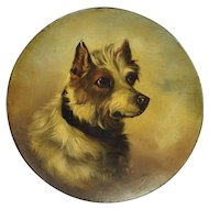Antique Jack Russell Dog Portrait Painting Papier Mache Dish Circa 1860 After George Armfield
