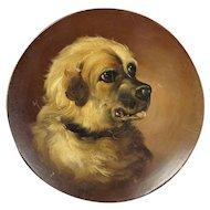Antique Dog Portrait Painting Papier Mache Dish Circa 1860 AF After George Armfield