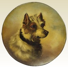 19th Century Jack Russell Dog Portrait Painting Papier Mache Dish Circa 1860 After George Armfield