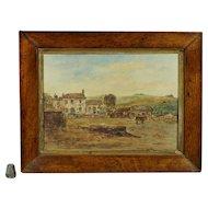 19th Century Naive Rural Farmhouse Donkey Watercolor Cornwall England Poldark Country Circa 1840